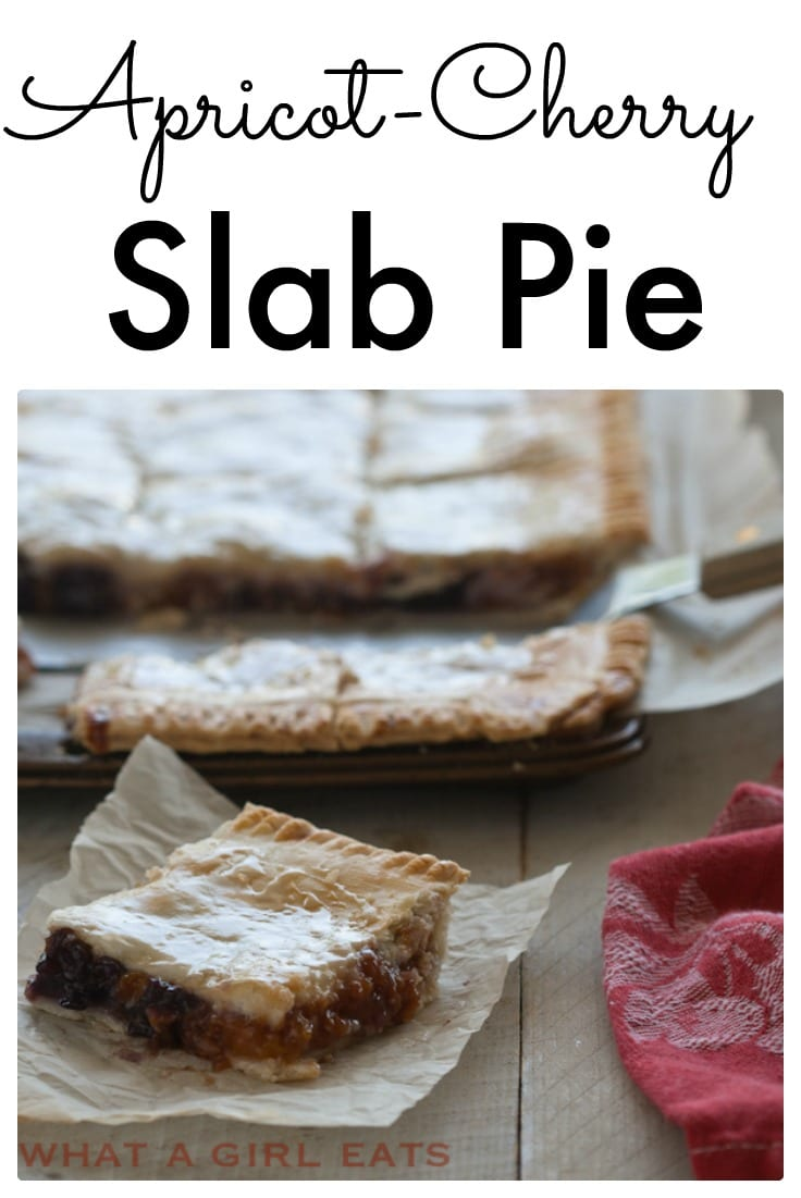 Apricot Cherry Slab pie is perfect for a big crowd! No plates or forks needed! #slabpie #fruitpie #pierecipes #dessert #fruitdessert #apricotpie #cherrypie