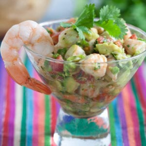 Shrimp ceviche in a glass