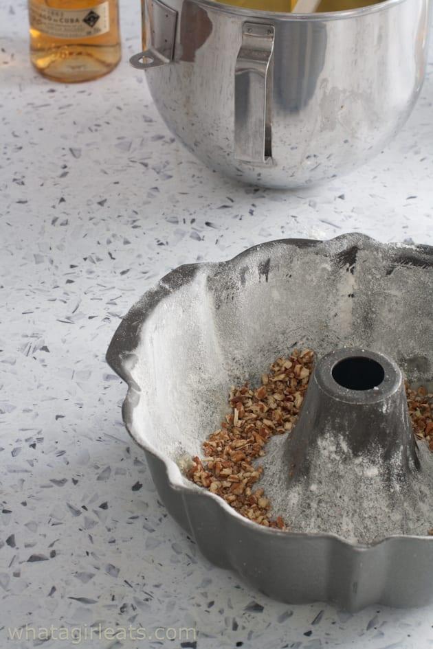 1/2 nuts in bundt pan