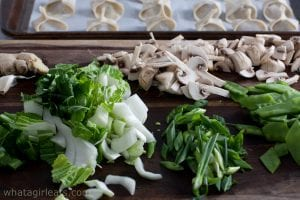 veggies for wonton soup