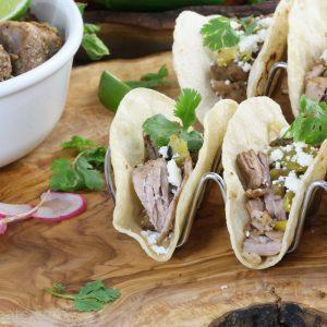 green pork tacos