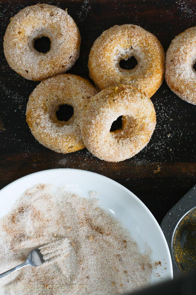pumpkin donuts with cinnamon sugar