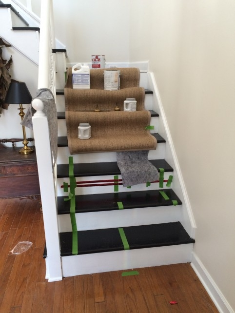 Diy Ikea Jute Rug Stair Runner What Emily Does | Home Depot Hall Runners By The Foot | Persian Rug | Area Rugs | Flooring | Staircase | Rug Runner