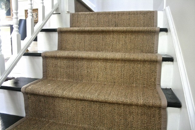 Diy Ikea Jute Rug Stair Runner What Emily Does   Fitting Sisal Carpet On Stairs   Seagrass   Herringbone Carpet Runner   Grey   Seagrass Stair Runners   Stair Tread