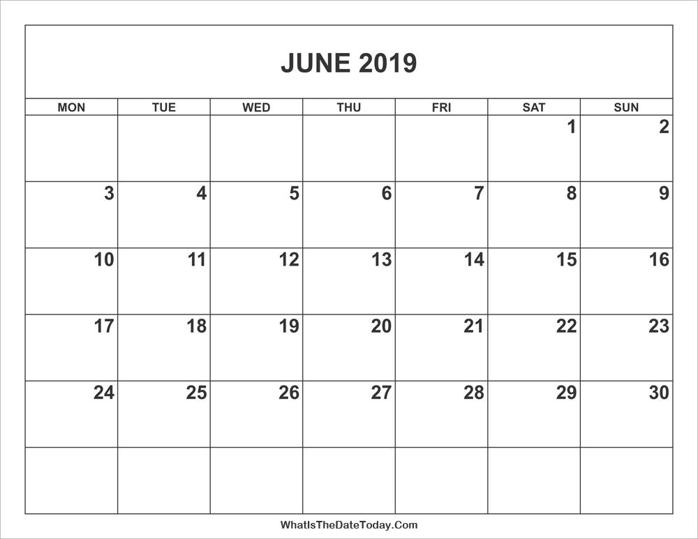 June 2019 Calendar | Whatisthedatetoday.Com