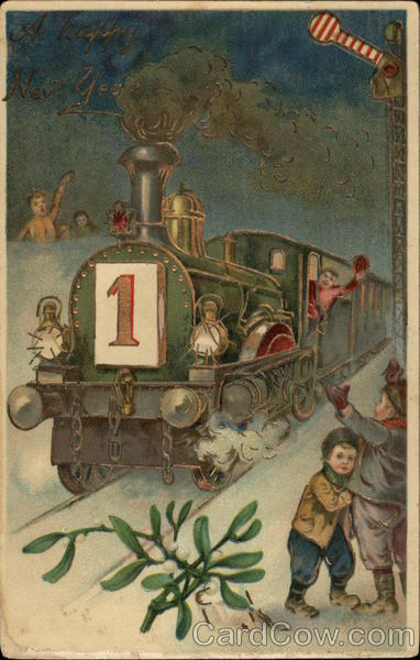 New year card vintage train and children   What Will Matter New year card vintage train and children