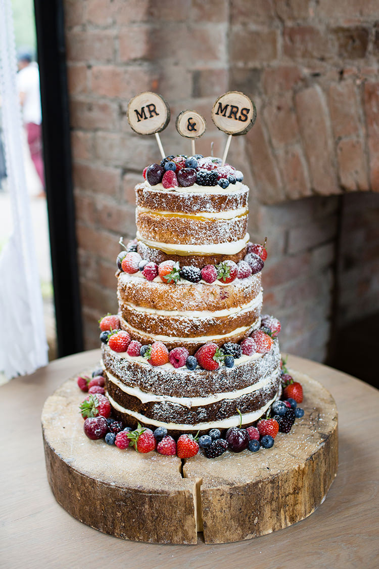 Naked Wedding Cake Ideas   Whimsical Wonderland Weddings Naked Wedding Cake Ideas Sponge Bare Layer Victoria Berries Inspiration  http   www