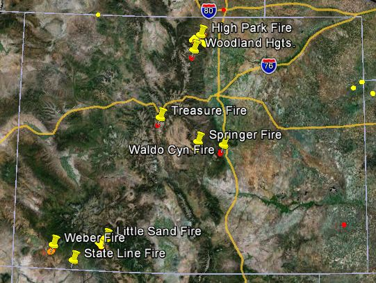 Firefighters in Colorado are working 8 large wildfires Map of Colorado wildfires  June 23  2012