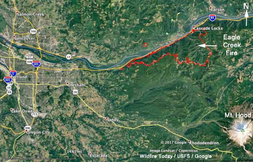 Eagle Creek Fire in Columbia River Gorge slows  but still adds over     map Eagle Creek fire