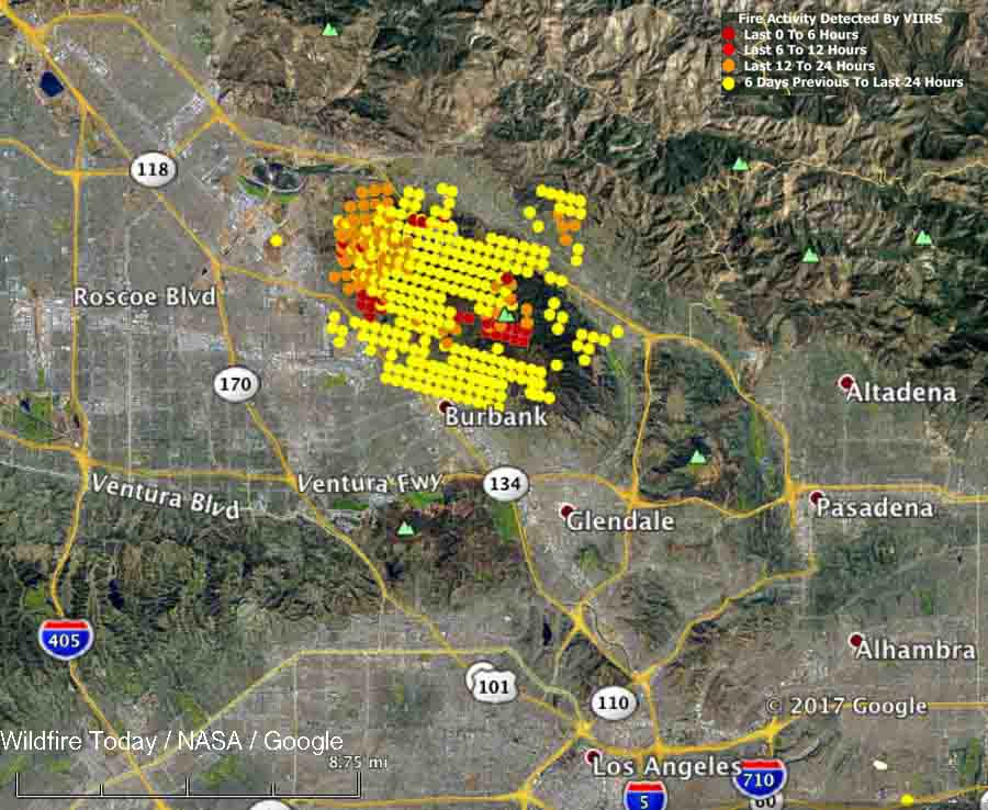 La Tuna wildfire burns structures  closes 210 Freeway in Los Angeles     La Tuna Fire map