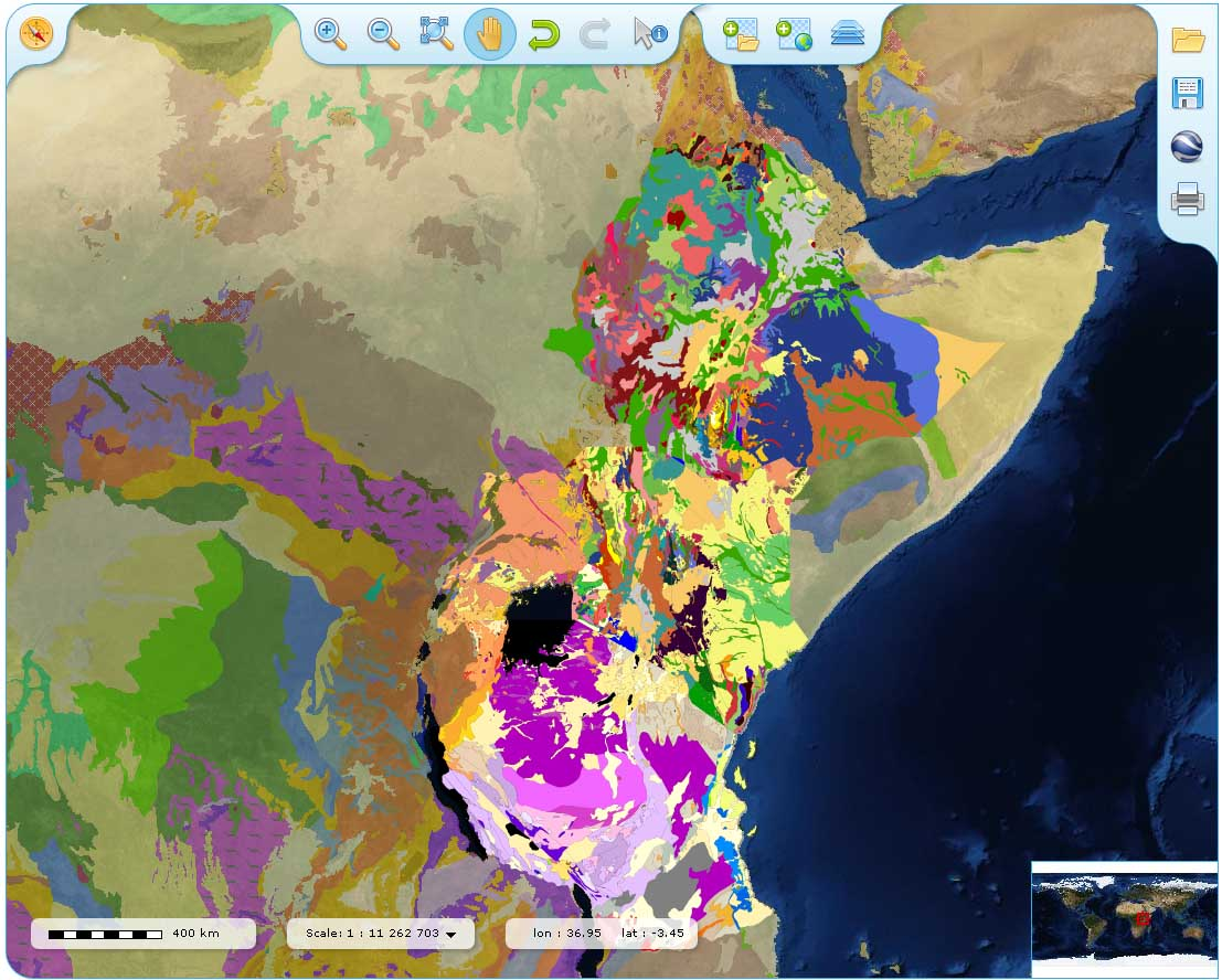 On line global geological maps   Small scale extract from the OneGeology portal with 1 2 million maps for  Ethiopia