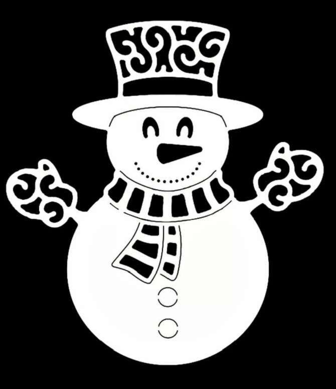снеговик в шарфике и рукавицах