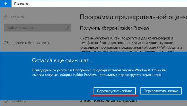 Etapa finală de conectare la programul Windows Insider