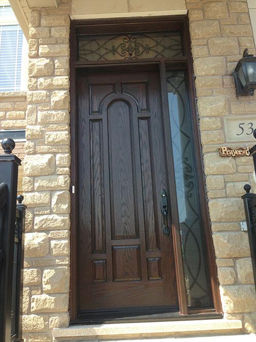 Front Entry Door Fiberglass Woodgrain 8 Panel Door With