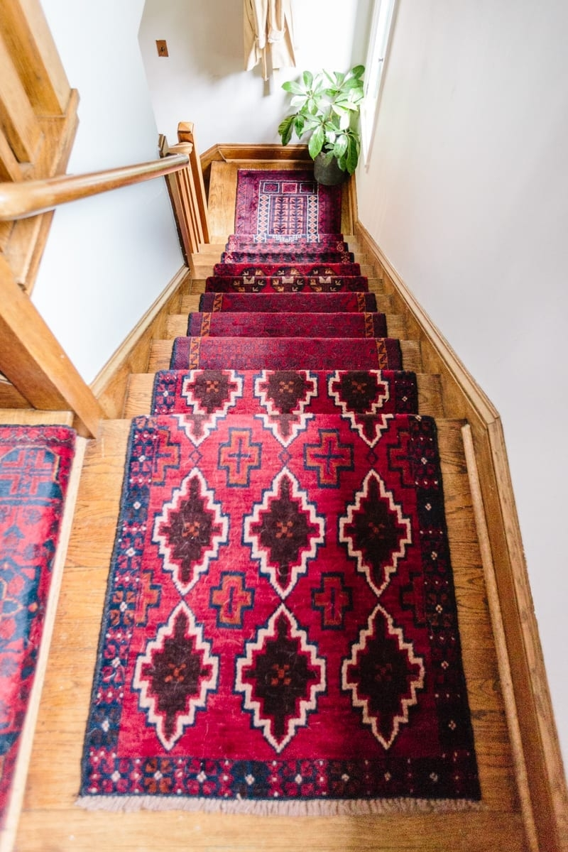 Mix Matched Patterns Diy Stair Runner Made With Vintage Rugs   Rug For Bottom Of Stairs   Stairs Floormat   Stair Runners   Flooring   Landing Mat   Rectangle