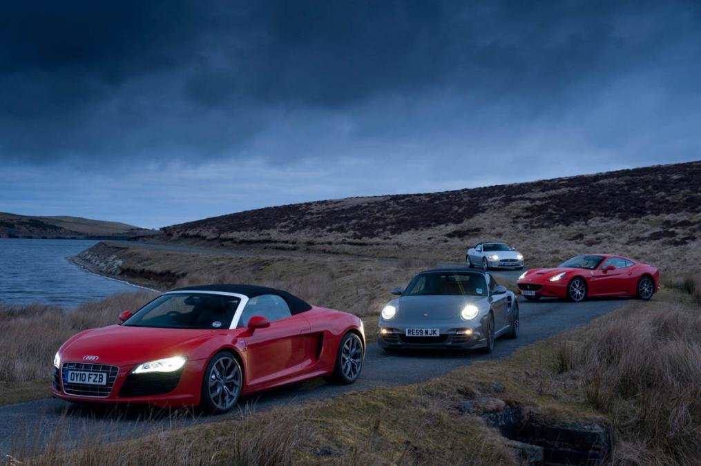 New Audi R8 Spyder V Porsche 911 Turbo V Jaguar Xkr V Ferrari On This Month
