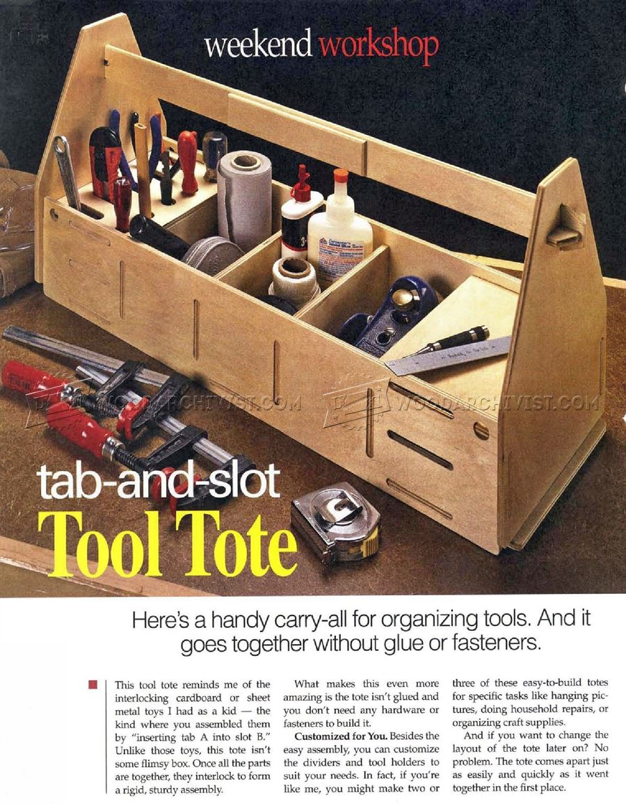 Tab And Slot Tool Tote Plans Woodarchivist