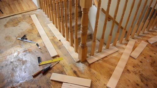 Fitting Flooring Around Stair Rail Spindles | Installing Newel Post And Spindles | Stair Treads | Stair Railings | Stair Banister | Box Newel | Staircase