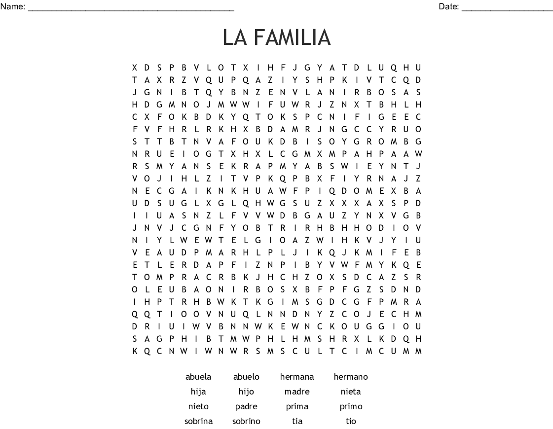 Answers La Word Search Familia