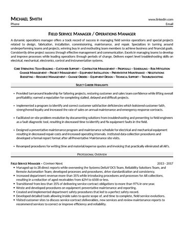 Field Service Manager Resume