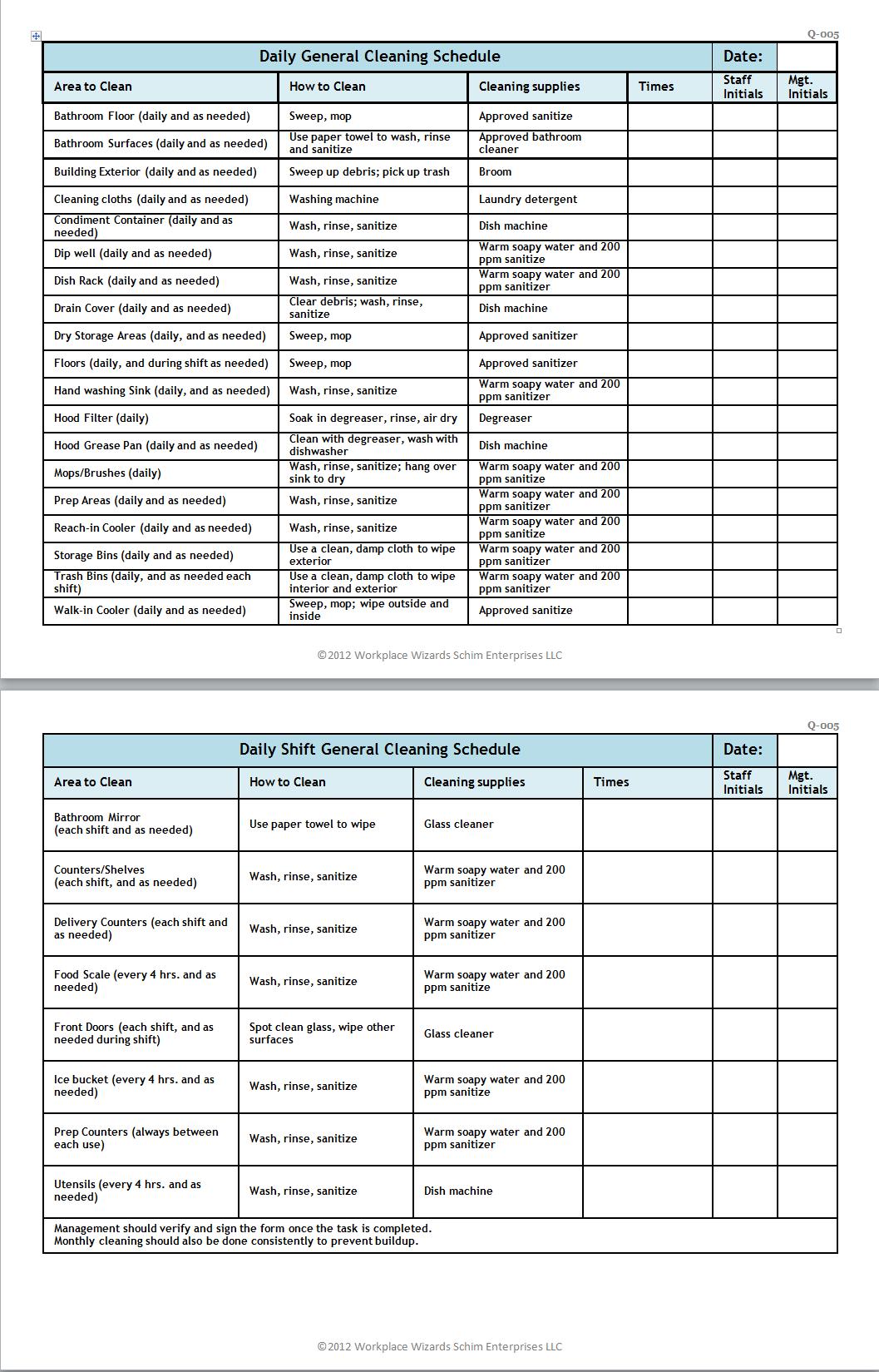 Keep Area Clean Work Tasks