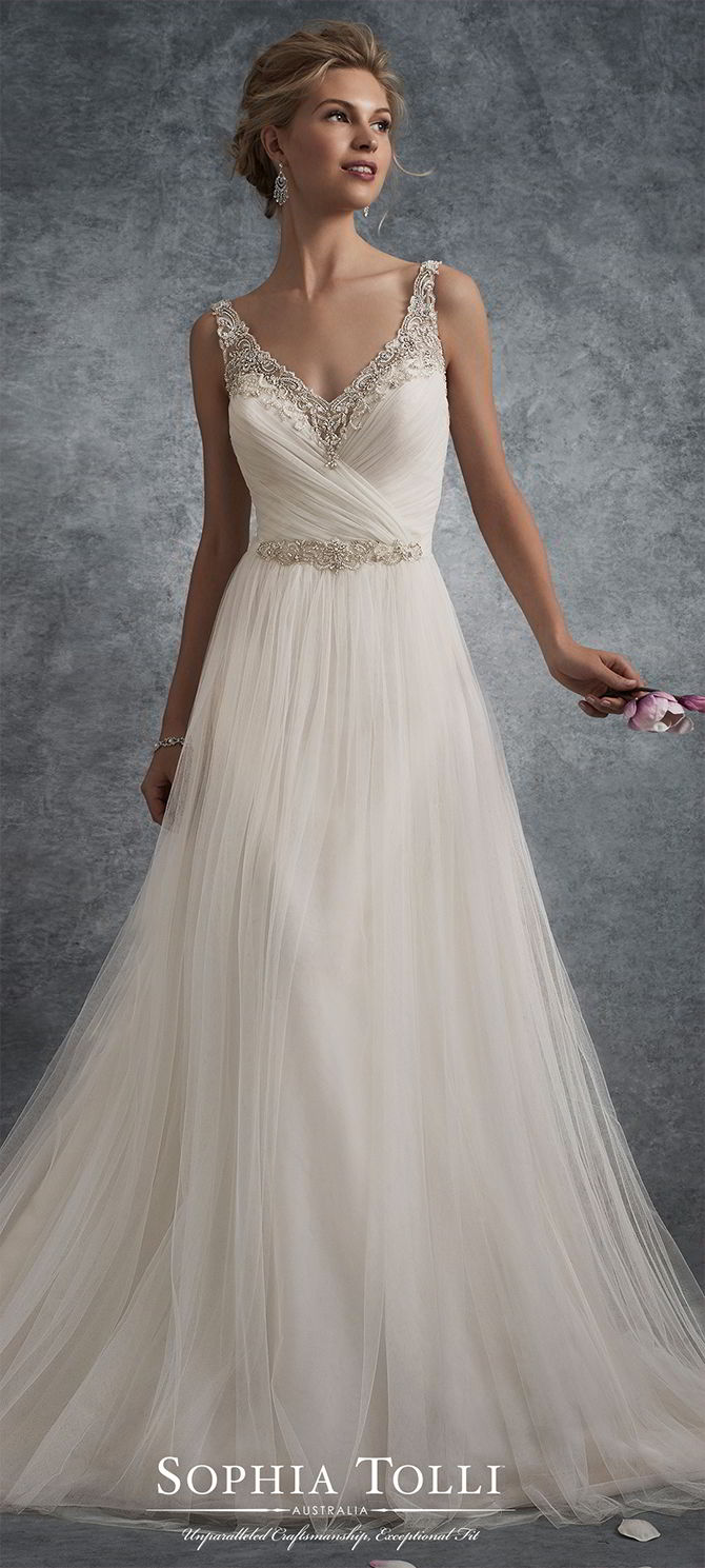 Line Lace Neckline And Dress Flare Soft Fit And Sweetheart Wedding Embellished Tulle
