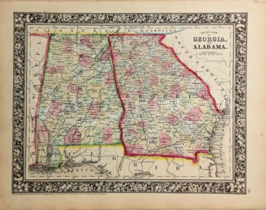 Large Civil War Era Augustus Mitchell Hand Tinted Colored Map Of Kentucky    Tennessee Dated 1860 Augustus Mitchell 1860 Map of Georgia   Alabama copy
