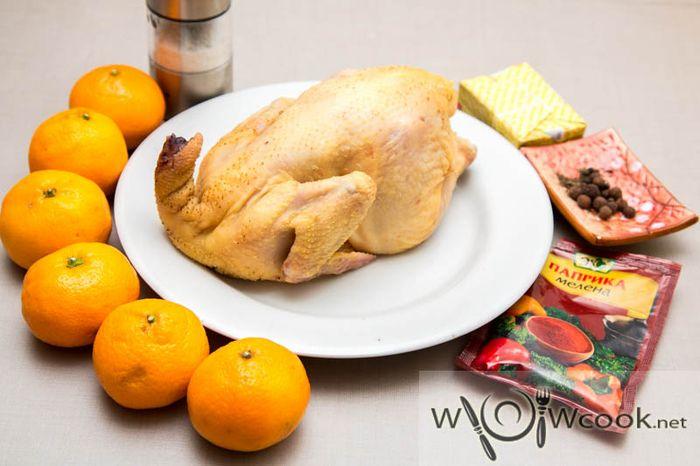 مرغ پخته شده با نارنگی