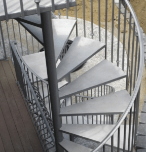 Wrought Iron Outdoor Stair Railings Made To Order | Outdoor Iron Staircase Designs | Round | Home Stair Design | Backyard | Spiral Staircase | Eye Catching