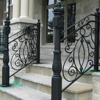 Wrought Iron Banister Rails   Outdoor Iron Railings For Steps   Outside   Aluminum   Wood Treads   Staircase   Custom