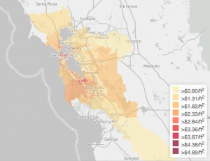 A Map of the Cheapest Places to Rent in the Bay Area   News Fix     Map Courtesy of Kwelia  The Bay Area