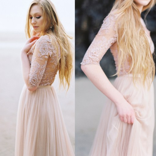 Need help finding blush or non white long sleeved wedding dress     Need help finding blush or non white long sleeved wedding dress  pics  included