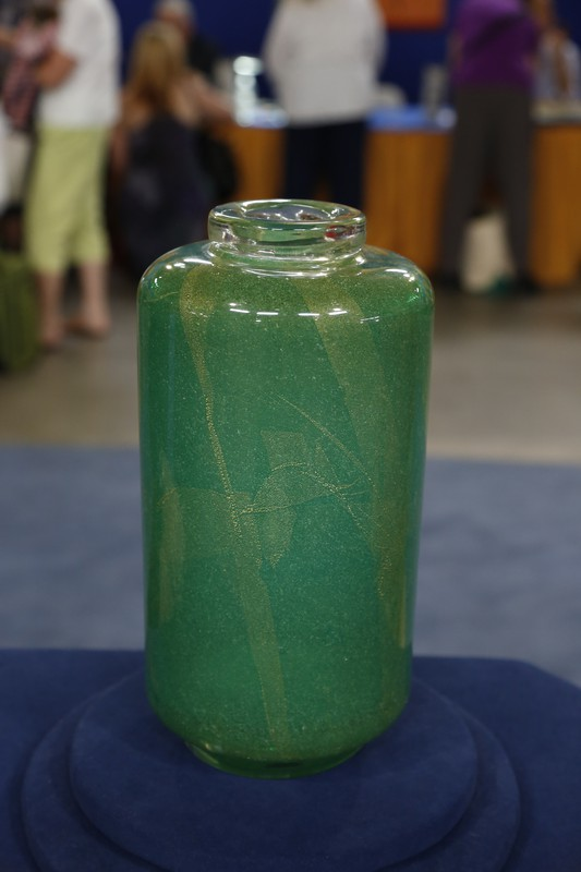 Murano Green Glass Vase By Scarpa Ca 1930 Antiques