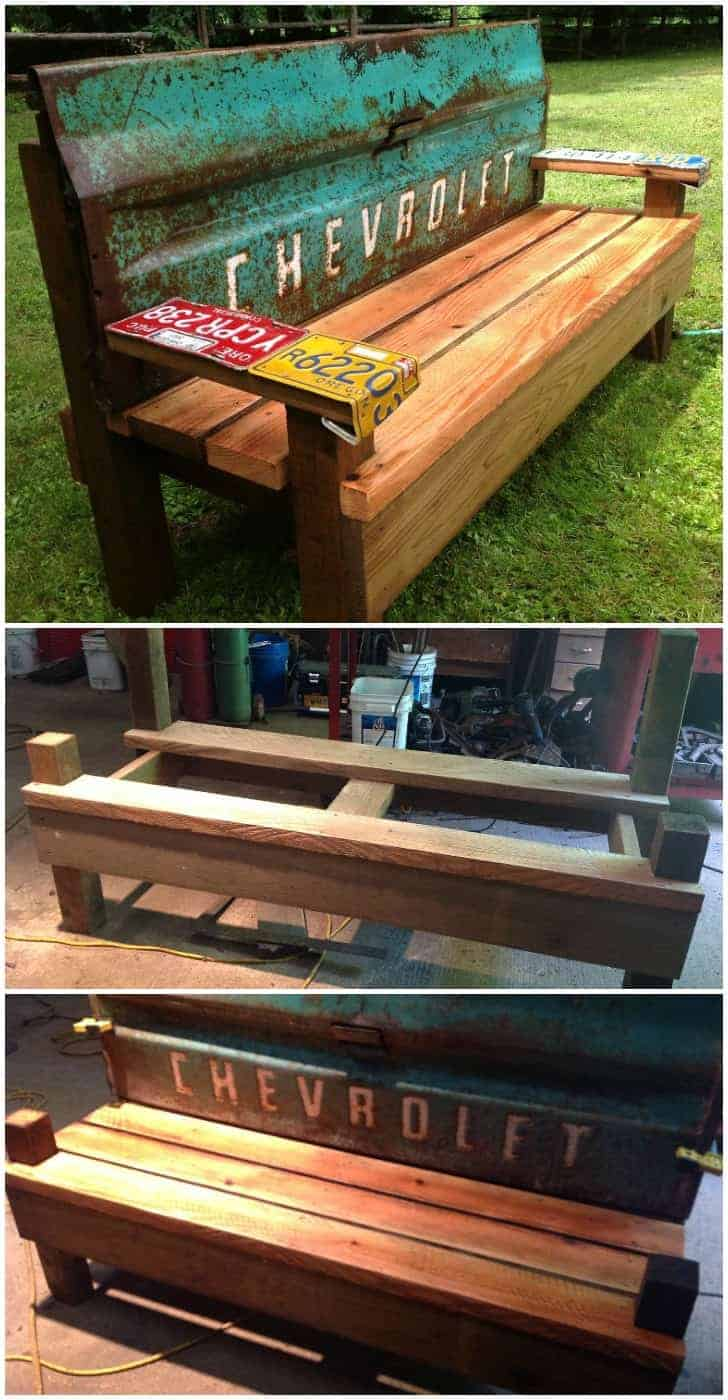 Diy Patio Bench With An Old Car Tailgate 1001 Gardens