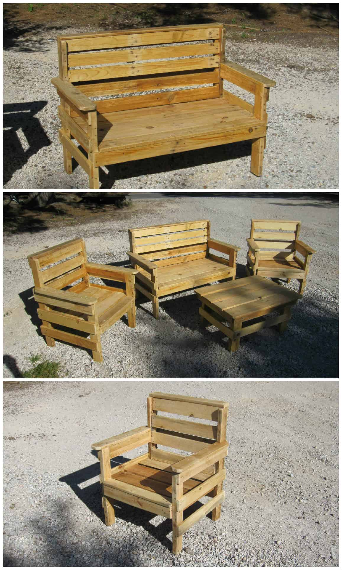 Complete Garden Set Made Out Of Repurposed Pallets 1001