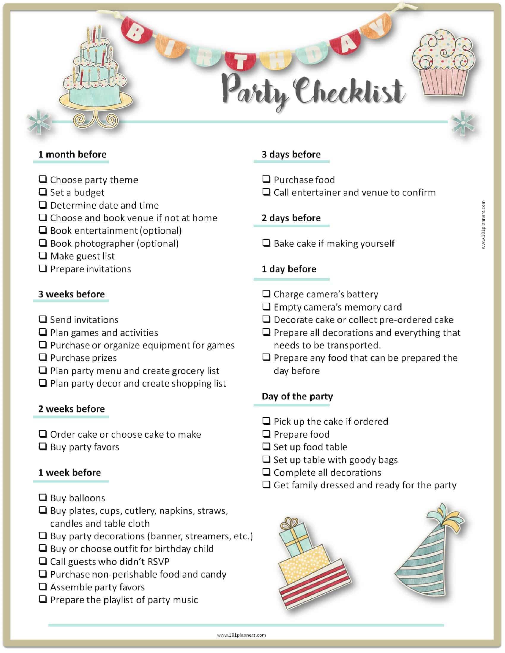 Surprise Birthday Party Checklist