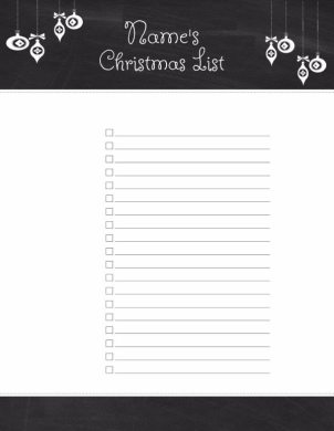 Free Christmas List Template   Customize Online   Print at Home     Template Christmas List Template