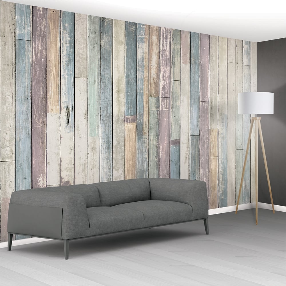 1Wall Shabby Chic Pastel Coloured Rustic Wood Planks Mural Wallpaper     1Wall Shabby Chic Pastel Coloured Rustic Wood Planks Mural Wallpaper    366cm x 253cm