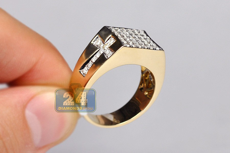 Cross Gold Diamond Ring 14k
