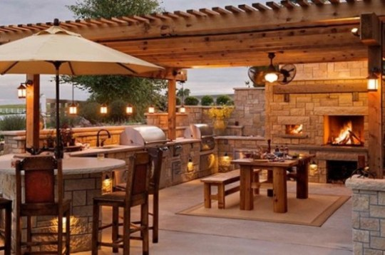Top 15 Outdoor Kitchen Designs and Their Costs     24h Site Plans for     Big kitchen with wood pergola