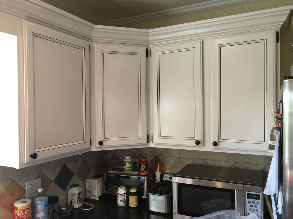 Light Pewter Cabinets With Black Glaze Pin Stripes 2