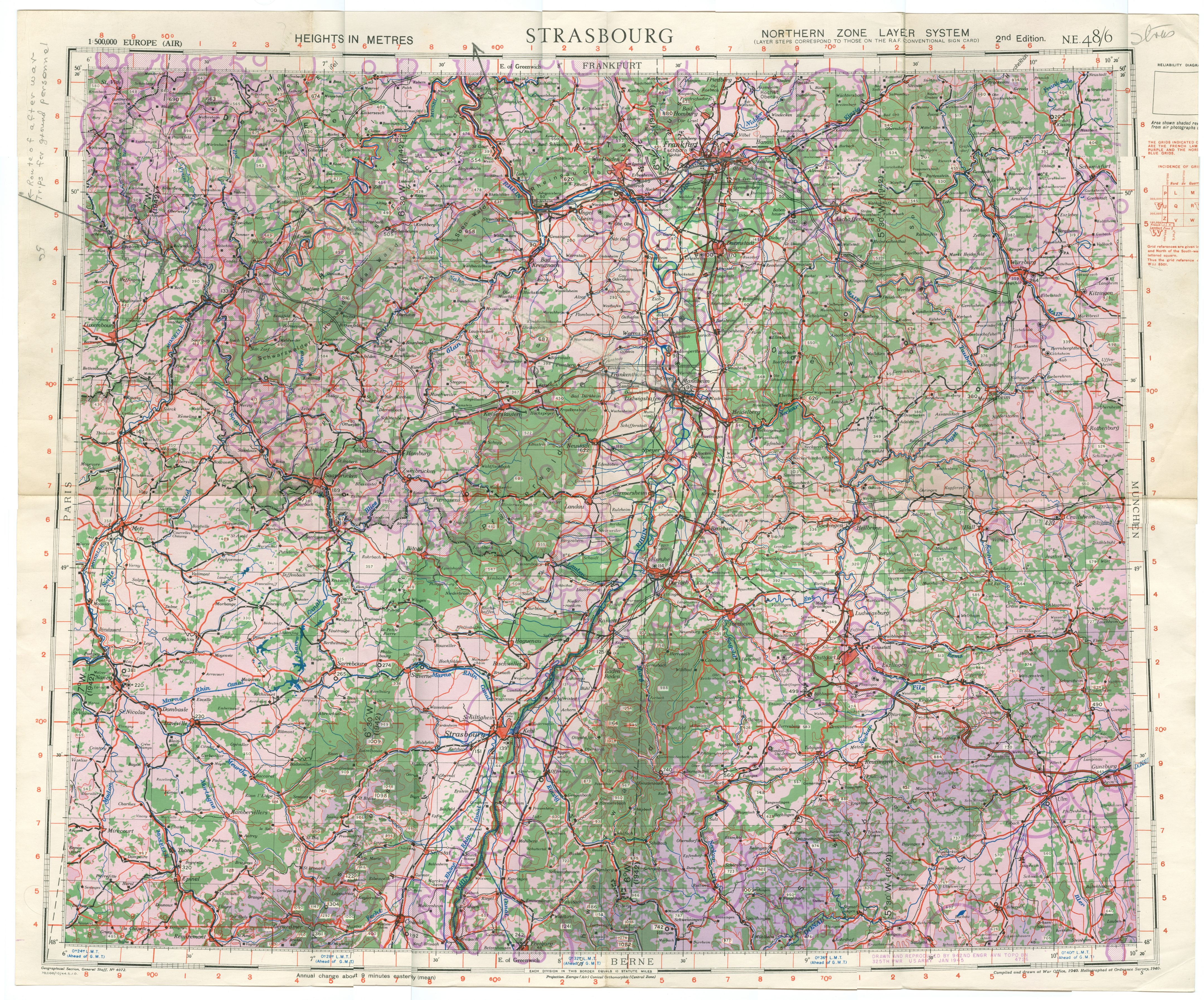 Historical Archive of the 8th Air Force in World War II   Oregon     Strasbourg aeronautical map 2nd Edition January 1945