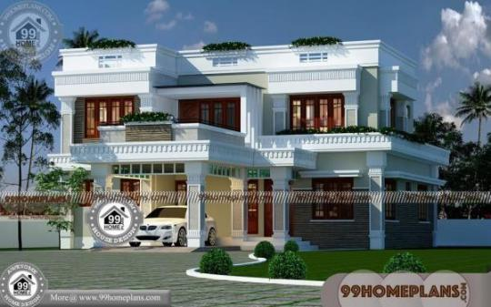 Modern Small Two Story House Plans with Flat Roof Cheap Rate Designs