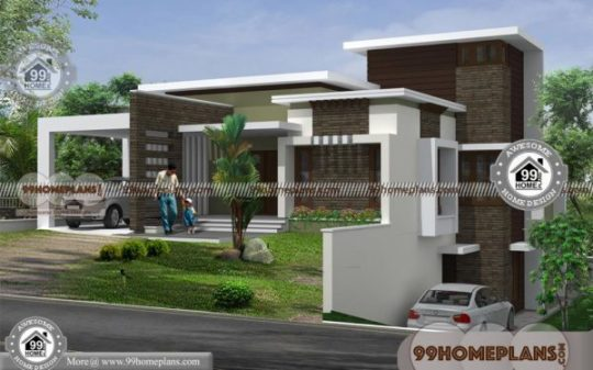 Small Contemporary House Plans In Kerala with 2 Floor Flat Roof Models