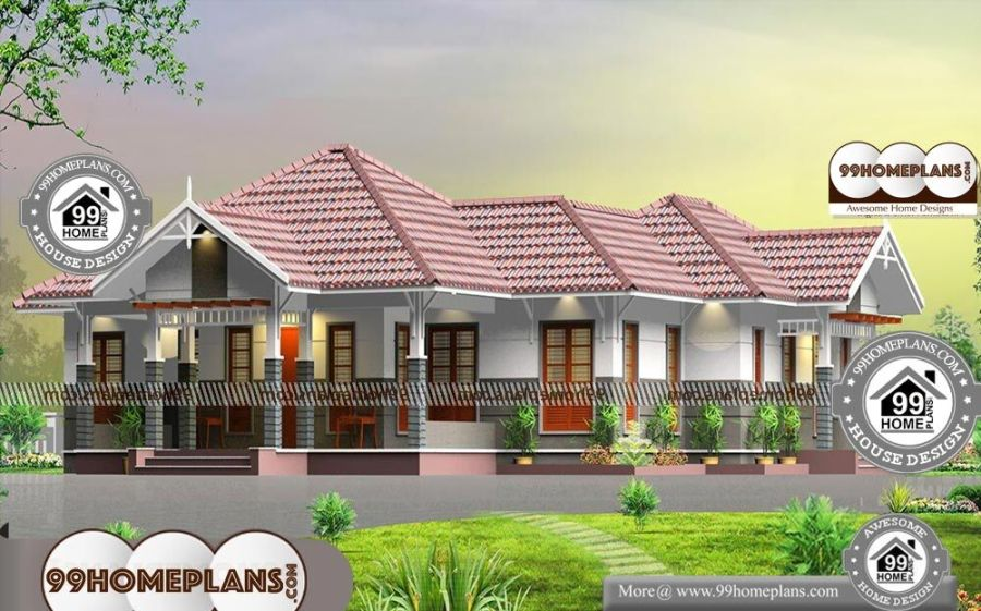 Modern One Level House Plans with Traditional Oodu Veedukal Collection Modern One Level House Plans   Single Story 2300 sqft Home