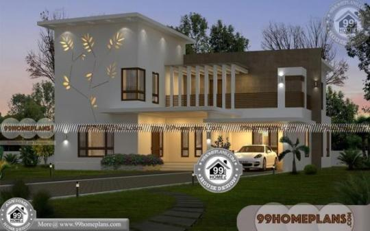 Best 4 Bedroom House Plans with 2 Floor Flat Roof Contemporary Design