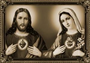 Estampa dos Corações de Jesus e Maria