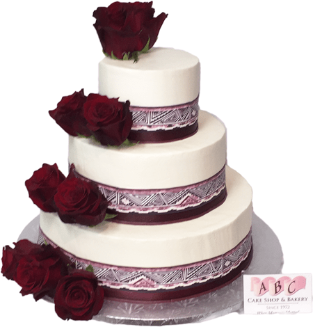 1921  3 Tier Wedding Cake with Red Roses   ABC Cake Shop   Bakery     Wedding Cake with Red Roses  Show all            SKU