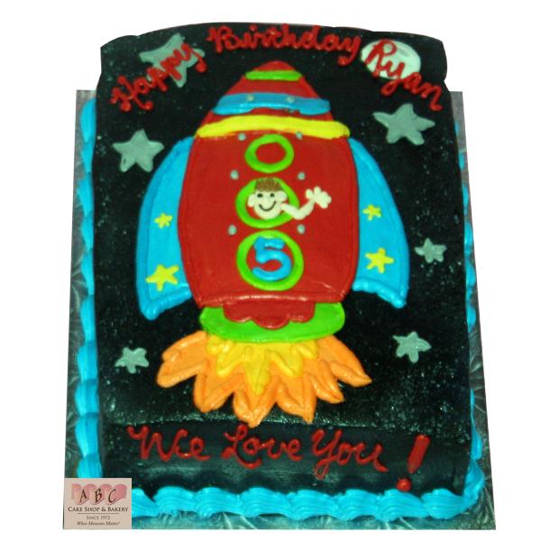 2118 Rocket Ship Sheet Cake Abc Cake Shop Amp Bakery