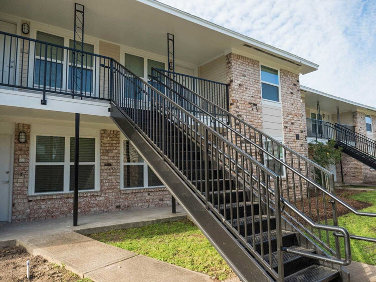 Metal Exterior Apartment Stair Installation Fire Escape Stairs | Exterior Metal Stair Railing | Contemporary | Steel | Outdoor | Aluminum | Mild Steel